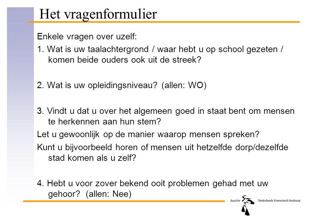 Resultaat 'vragen over uzelf': good hits TaalachtergrondGoed in staat?Let u op?Uit eigen dorp?Spreker Twentejaneeja4 Baarn e.a.+/-jaja4 Amsterdam+/-neeja4 Groningen/DHjajaja4 Zuid-Limburgjajaja4 Achterhoek+/-somsja4 Rotterdam e.a.jajaja4 Niet-Nedjajaja4 Vlaams---4 Vlaamsneeneenee4 Groningenjajameestal4 Amsterdamjajaja4 aantal good hits: 12 (van de 29) 70% ja-antwoorden op vragen naar eigen vermogen