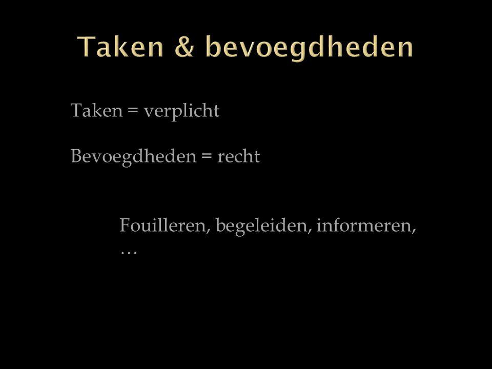 Taken = verplicht Bevoegdheden = recht Fouilleren, begeleiden, informeren, …