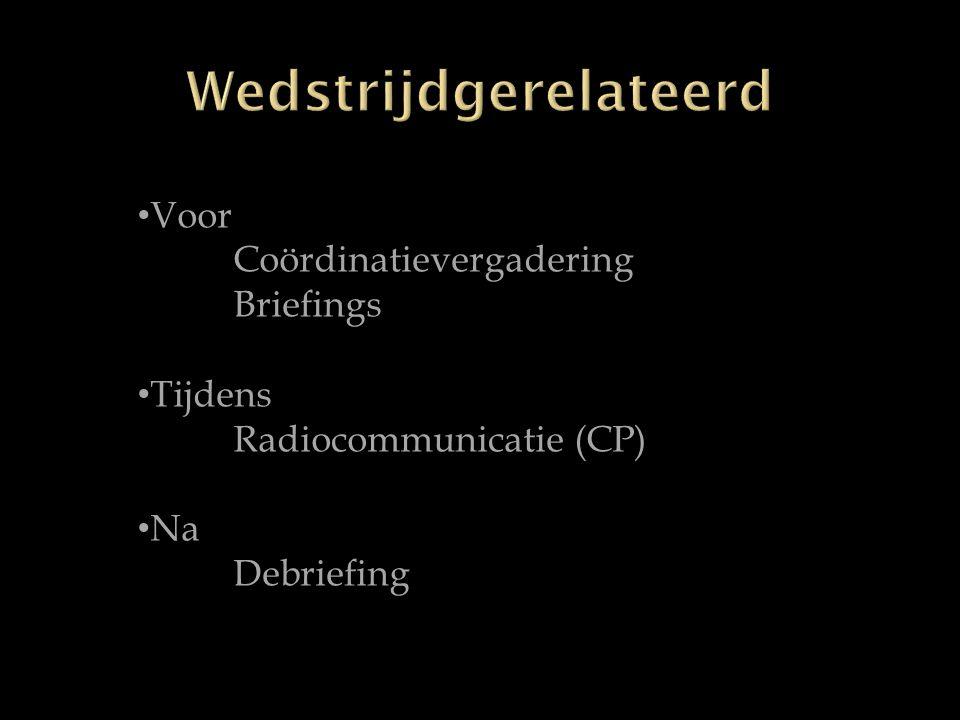 Voor Coördinatievergadering Briefings Tijdens Radiocommunicatie (CP) Na Debriefing