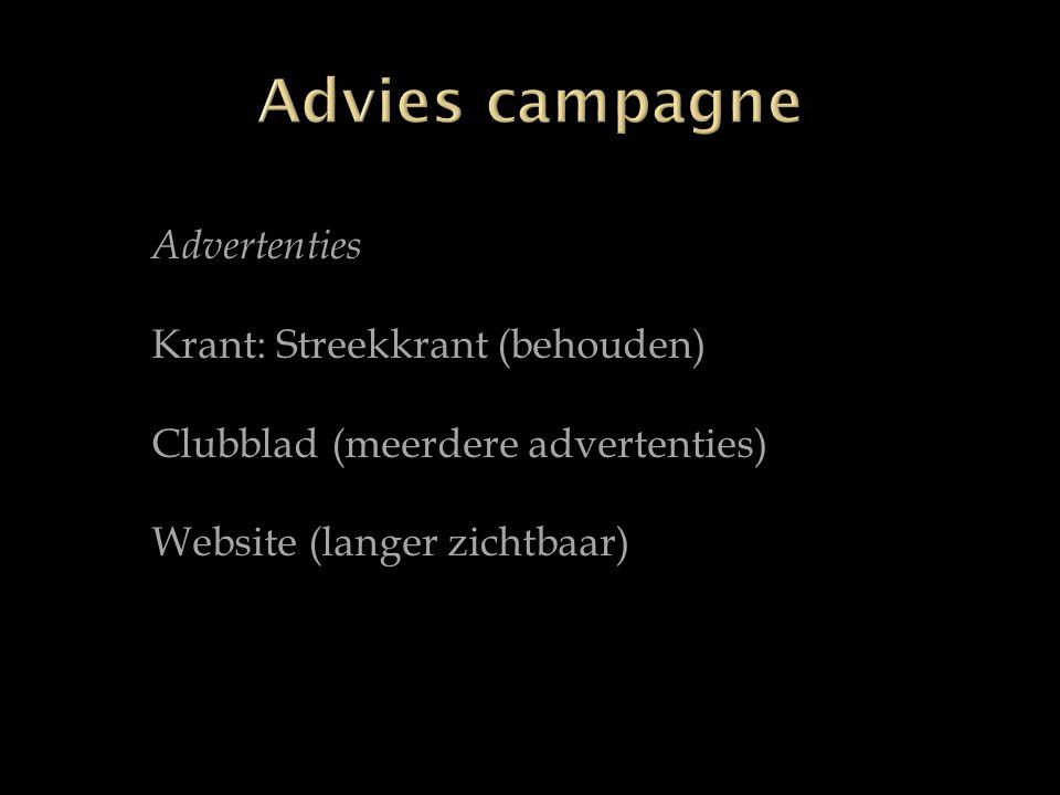 Advertenties Krant: Streekkrant (behouden) Clubblad (meerdere advertenties) Website (langer zichtbaar)