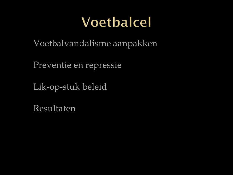 Voetbalvandalisme aanpakken Preventie en repressie Lik-op-stuk beleid Resultaten