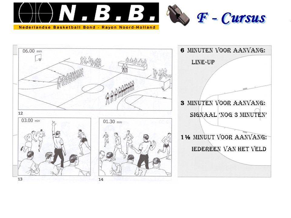 6 minuten voor aanvang: Line-up 3 minuten voor aanvang: signaal 'nog 3 minuten' 1½ minuut voor aanvang: iedereen van het veld