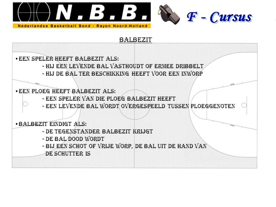 balbezit een speler heeft balbezit als: - hij een levende bal vasthoudt of ermee dribbelt - hij de bal ter beschikking heeft voor een inworp een ploeg
