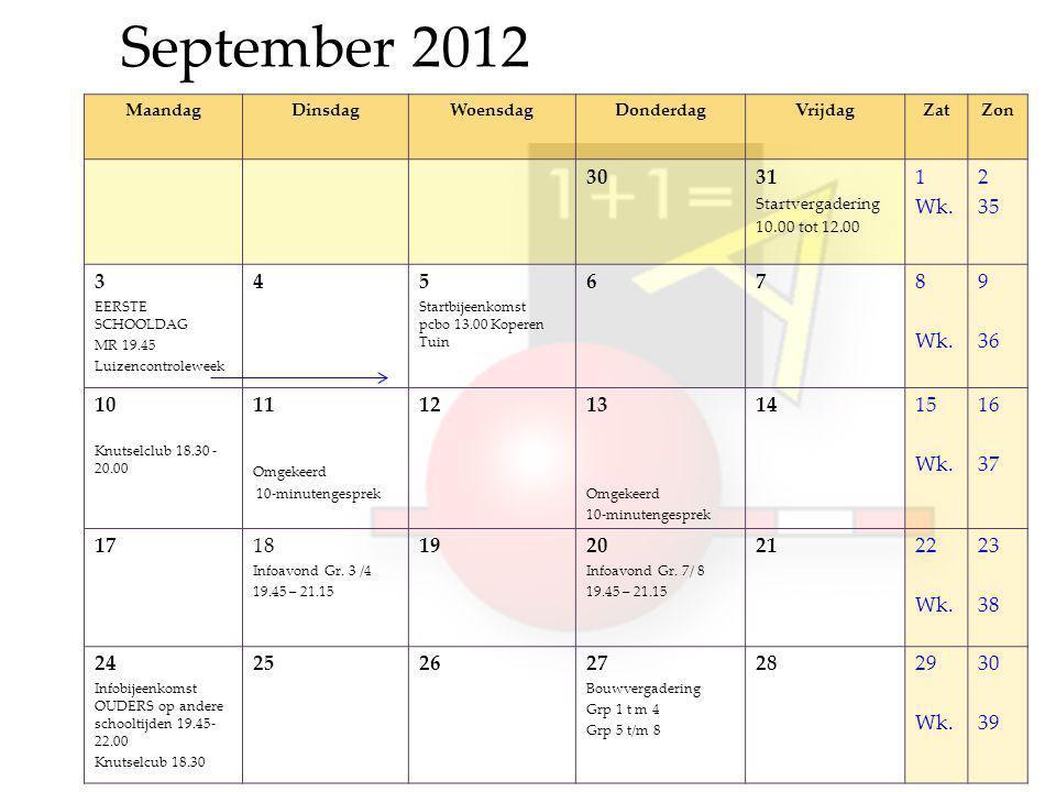 September 2012 MaandagDinsdagWoensdagDonderdagVrijdagZatZon 3031 Startvergadering 10.00 tot 12.00 1 Wk.