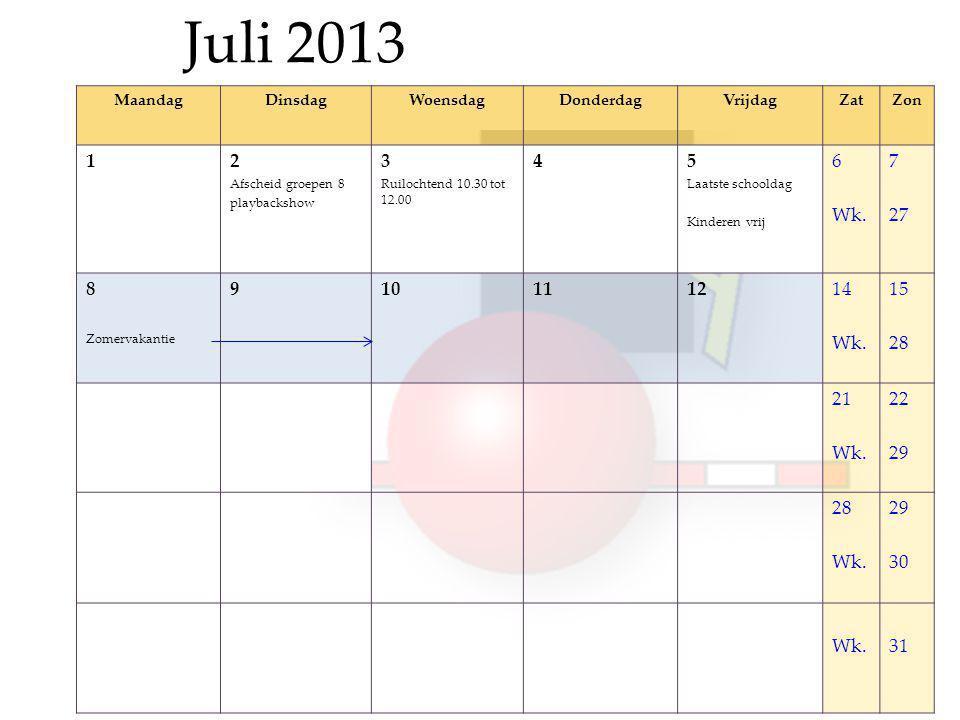 Juli 2013 MaandagDinsdagWoensdagDonderdagVrijdagZatZon 12 Afscheid groepen 8 playbackshow 3 Ruilochtend 10.30 tot 12.00 45 Laatste schooldag Kinderen vrij 6 Wk.