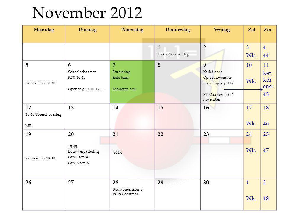 November 2012 MaandagDinsdagWoensdagDonderdagVrijdagZatZon 1 15.45 Werkoverleg 23 Wk.