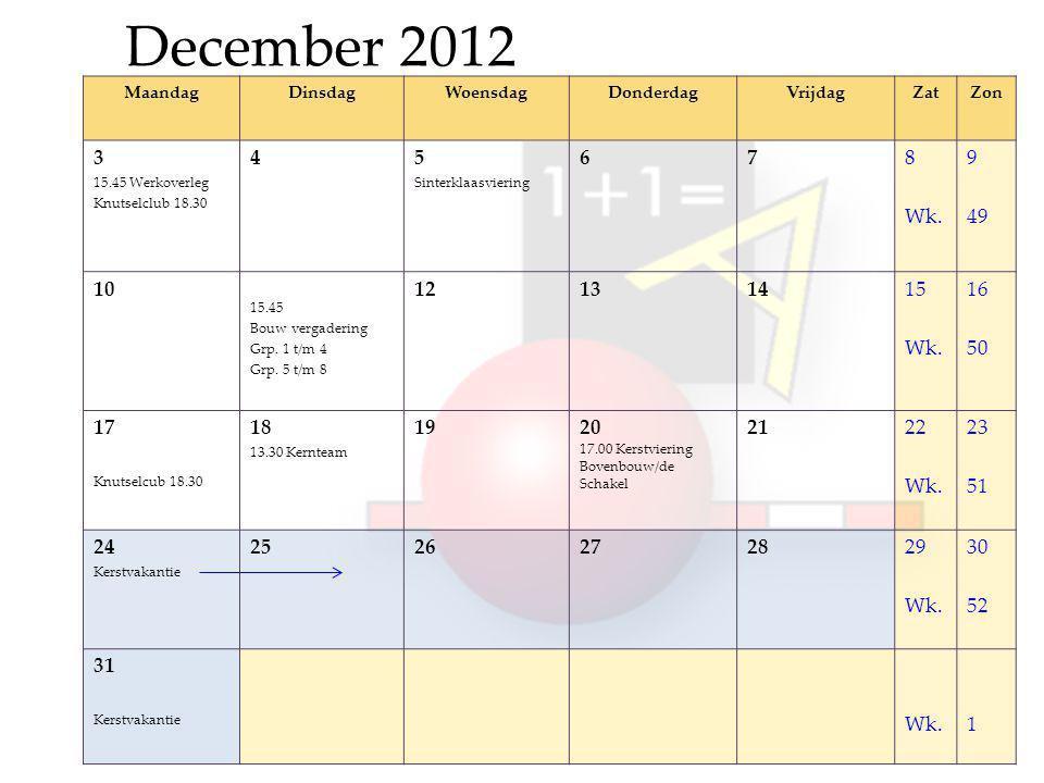 December 2012 MaandagDinsdagWoensdagDonderdagVrijdagZatZon 3 15.45 Werkoverleg Knutselclub 18.30 45 Sinterklaasviering 678 Wk.