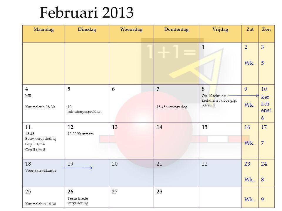 Februari 2013 MaandagDinsdagWoensdagDonderdagVrijdagZatZon 12 Wk.