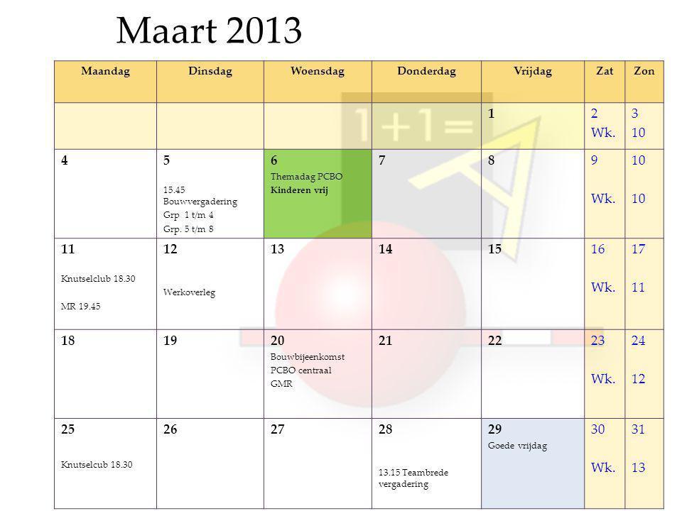 Maart 2013 MaandagDinsdagWoensdagDonderdagVrijdagZatZon 12 Wk.