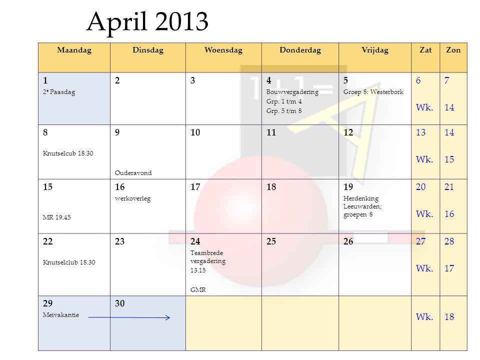April 2013 MaandagDinsdagWoensdagDonderdagVrijdagZatZon 1 2 e Paasdag 234 Bouwvergadering Grp.