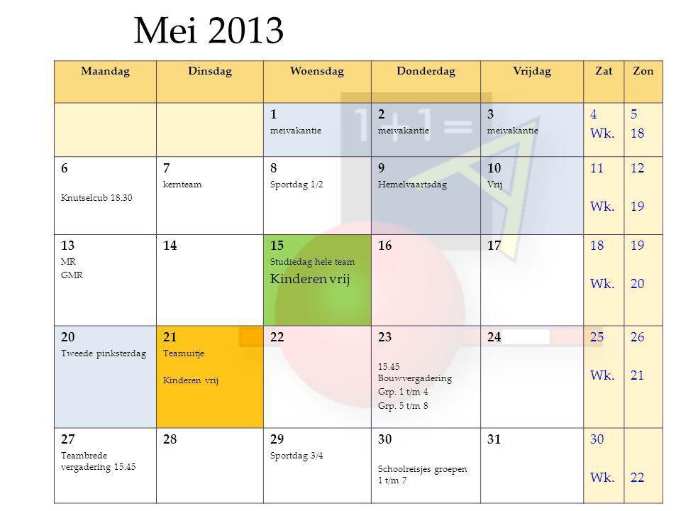 Mei 2013 MaandagDinsdagWoensdagDonderdagVrijdagZatZon 1 meivakantie 2 meivakantie 3 meivakantie 4 Wk.