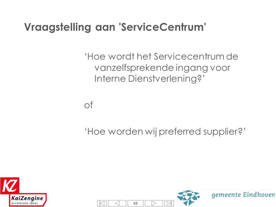 48 Vraagstelling aan 'ServiceCentrum' 'Hoe wordt het Servicecentrum de vanzelfsprekende ingang voor Interne Dienstverlening?' of 'Hoe worden wij prefe