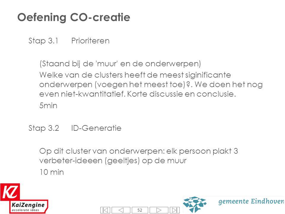 52 Oefening CO-creatie Stap 3.1 Prioriteren (Staand bij de 'muur' en de onderwerpen) Welke van de clusters heeft de meest siginificante onderwerpen (v