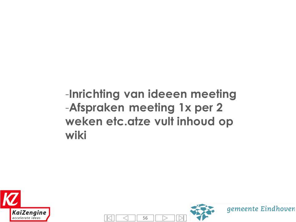56 - Inrichting van ideeen meeting - Afspraken meeting 1x per 2 weken etc.atze vult inhoud op wiki 56