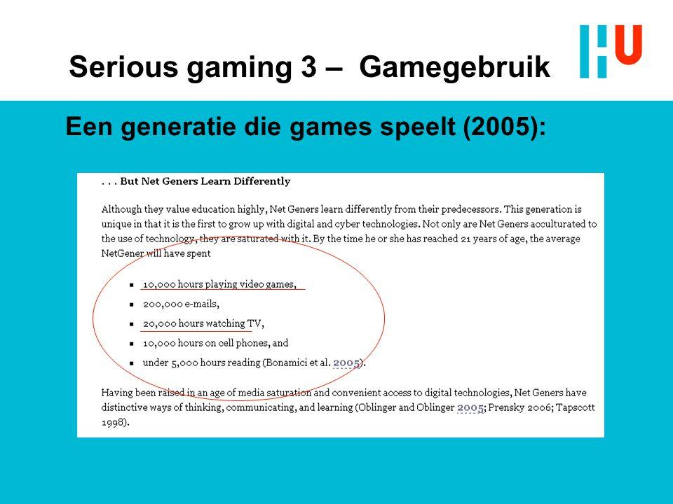 Een generatie die games speelt (2005): Serious gaming 3 – Gamegebruik