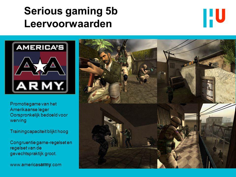 Promotiegame van het Amerikaanse leger Oorspronkelijk bedoeld voor werving Trainingcapaciteit blijkt hoog Congruentie game-regelset en regelset van de