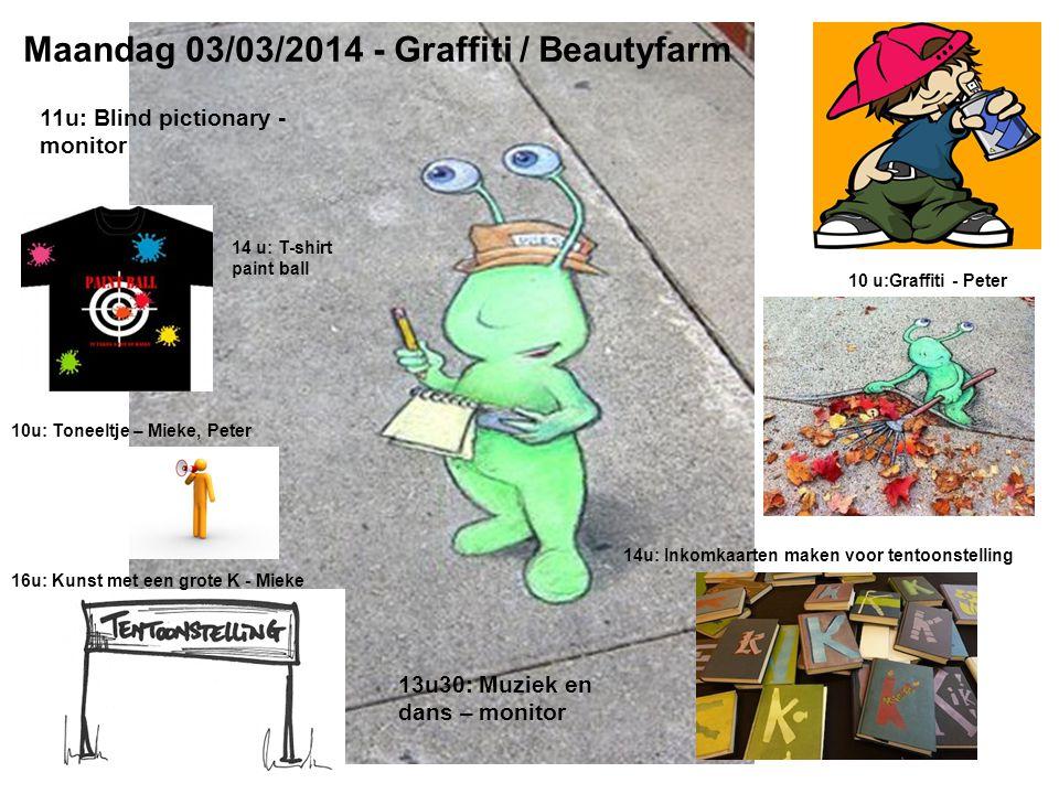 Maandag 03/03/2014 - Graffiti / Beautyfarm 10 u:Graffiti - Peter 14 u: T-shirt paint ball 14u: Inkomkaarten maken voor tentoonstelling 10u: Toneeltje