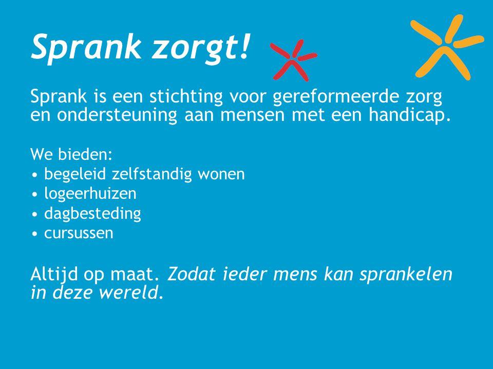 Sprank zorgt! Sprank is een stichting voor gereformeerde zorg en ondersteuning aan mensen met een handicap. We bieden: begeleid zelfstandig wonen loge