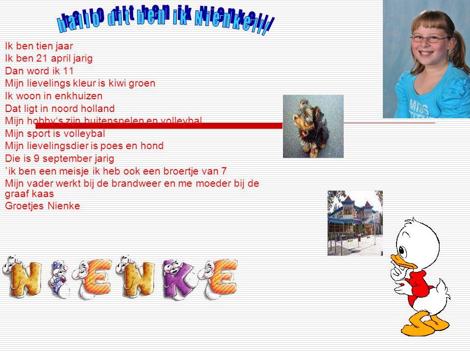 Ik ben Kaeye. Ik woon in Enkhuizen. Ik zit op de school Hoeksteen. Ik ben 10 jaar. Mijn bijnaam is schaap