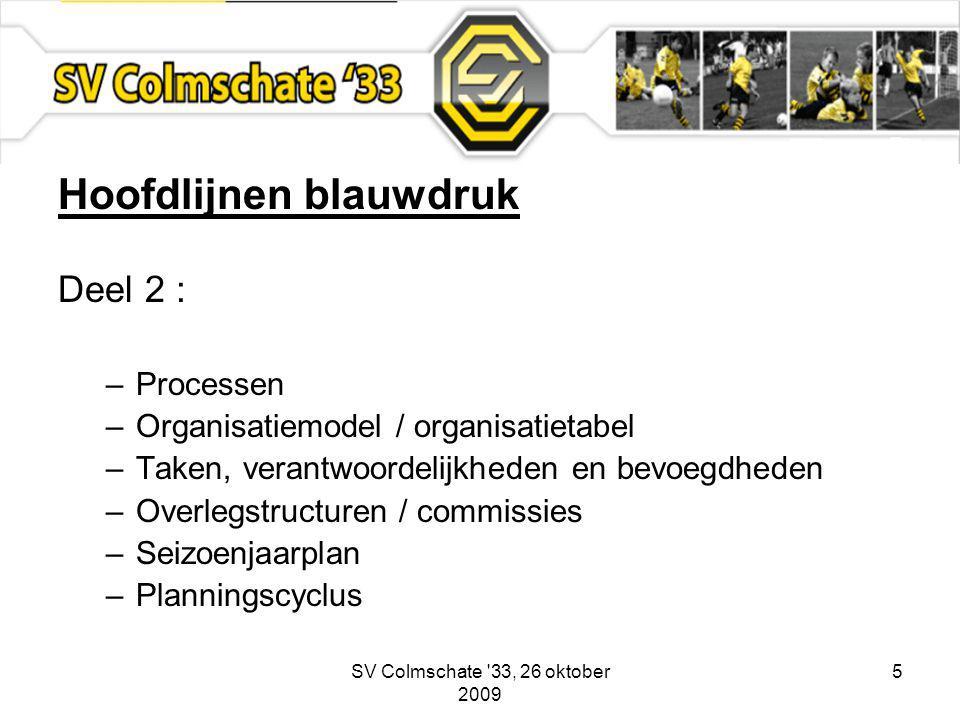 SV Colmschate 33, 26 oktober 2009 5 Hoofdlijnen blauwdruk Deel 2 : –Processen –Organisatiemodel / organisatietabel –Taken, verantwoordelijkheden en bevoegdheden –Overlegstructuren / commissies –Seizoenjaarplan –Planningscyclus