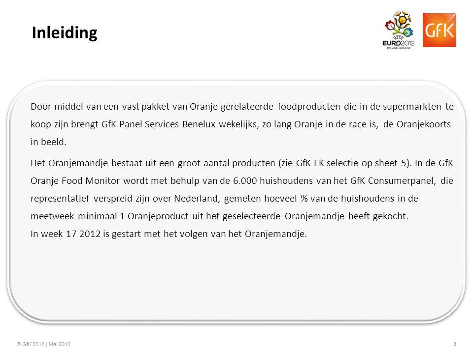© GfK 2012 | Mei 20123 Door middel van een vast pakket van Oranje gerelateerde foodproducten die in de supermarkten te koop zijn brengt GfK Panel Services Benelux wekelijks, zo lang Oranje in de race is, de Oranjekoorts in beeld.