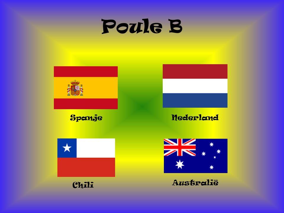 Poule B Spanje Australië Chili Nederland