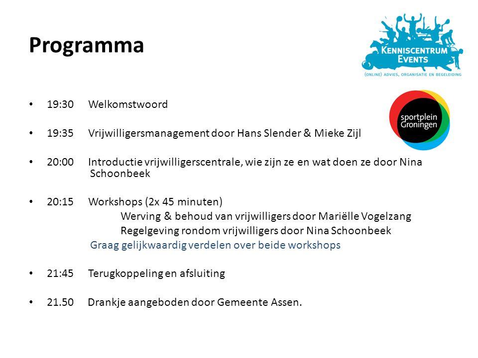 Programma 19:30 Welkomstwoord 19:35 Vrijwilligersmanagement door Hans Slender & Mieke Zijl 20:00 Introductie vrijwilligerscentrale, wie zijn ze en wat