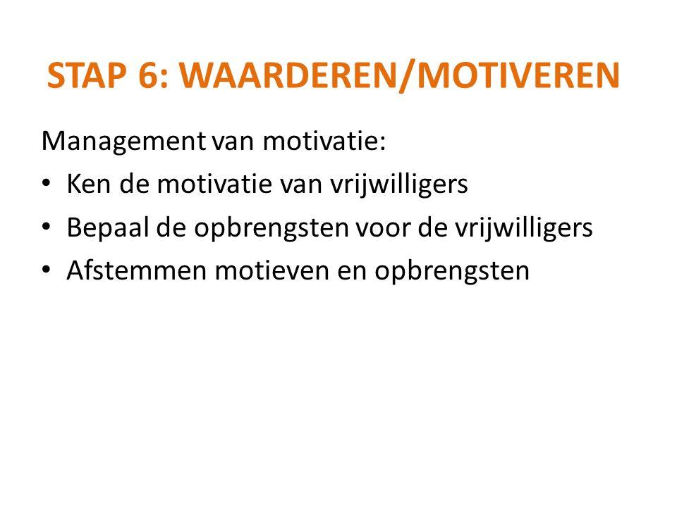 Management van motivatie: Ken de motivatie van vrijwilligers Bepaal de opbrengsten voor de vrijwilligers Afstemmen motieven en opbrengsten STAP 6: WAA