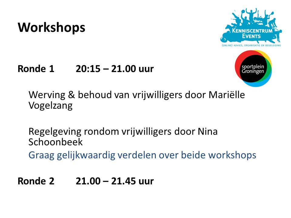 Workshops Ronde 120:15 – 21.00 uur Werving & behoud van vrijwilligers door Mariëlle Vogelzang Regelgeving rondom vrijwilligers door Nina Schoonbeek Gr
