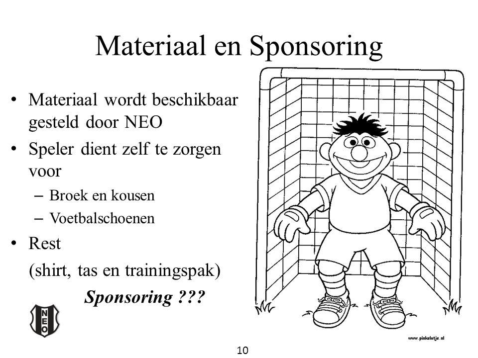 Materiaal en Sponsoring Materiaal wordt beschikbaar gesteld door NEO Speler dient zelf te zorgen voor – Broek en kousen – Voetbalschoenen Rest (shirt,