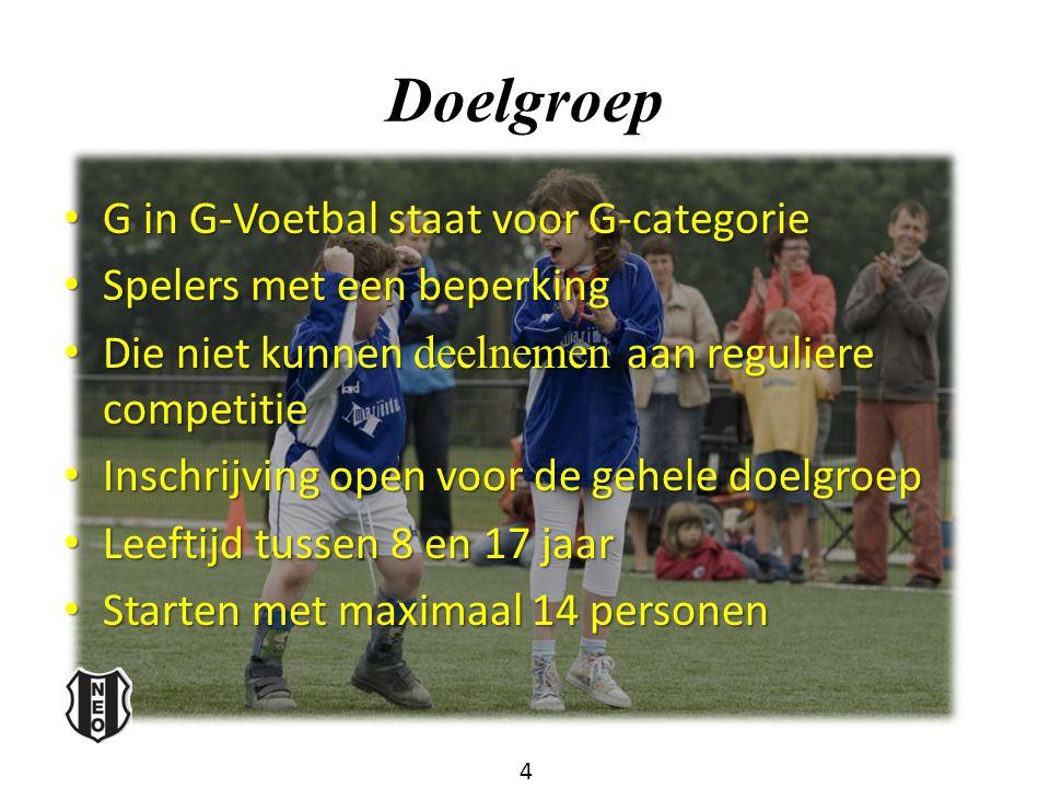 Doelgroep G in G-Voetbal staat voor G-categorie G in G-Voetbal staat voor G-categorie Spelers met een beperking Spelers met een beperking Die niet kun