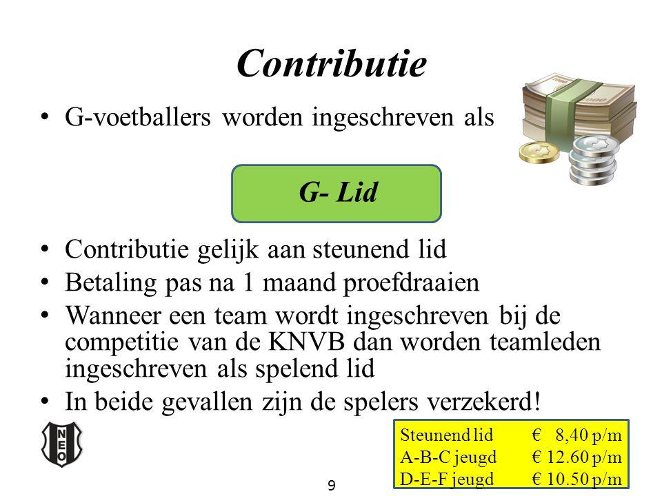 Contributie G-voetballers worden ingeschreven als Contributie gelijk aan steunend lid Betaling pas na 1 maand proefdraaien Wanneer een team wordt inge