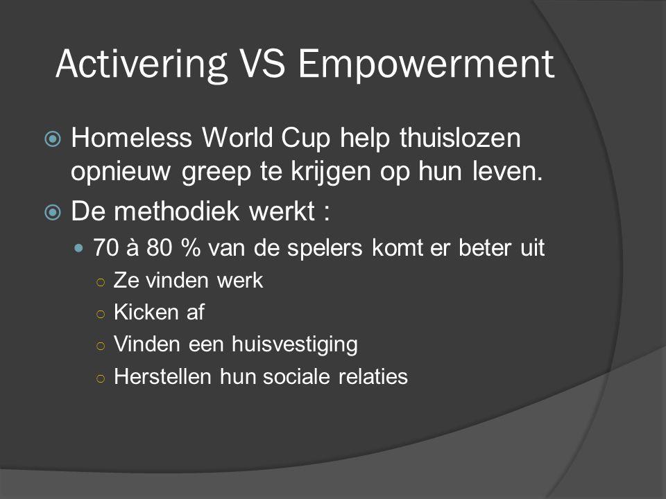 Activering VS Empowerment  Homeless World Cup help thuislozen opnieuw greep te krijgen op hun leven.