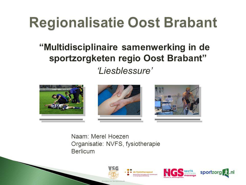 """""""Multidisciplinaire samenwerking in de sportzorgketen regio Oost Brabant"""" 'Liesblessure' Naam: Merel Hoezen Organisatie: NVFS, fysiotherapie Berlicum"""