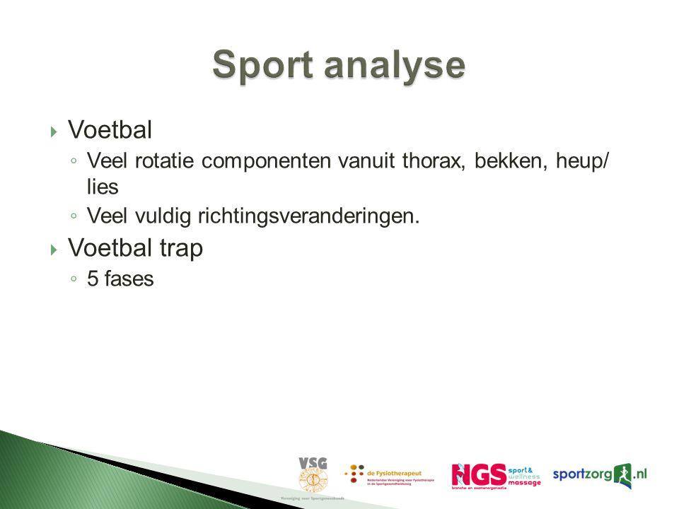  Voetbal ◦ Veel rotatie componenten vanuit thorax, bekken, heup/ lies ◦ Veel vuldig richtingsveranderingen.  Voetbal trap ◦ 5 fases