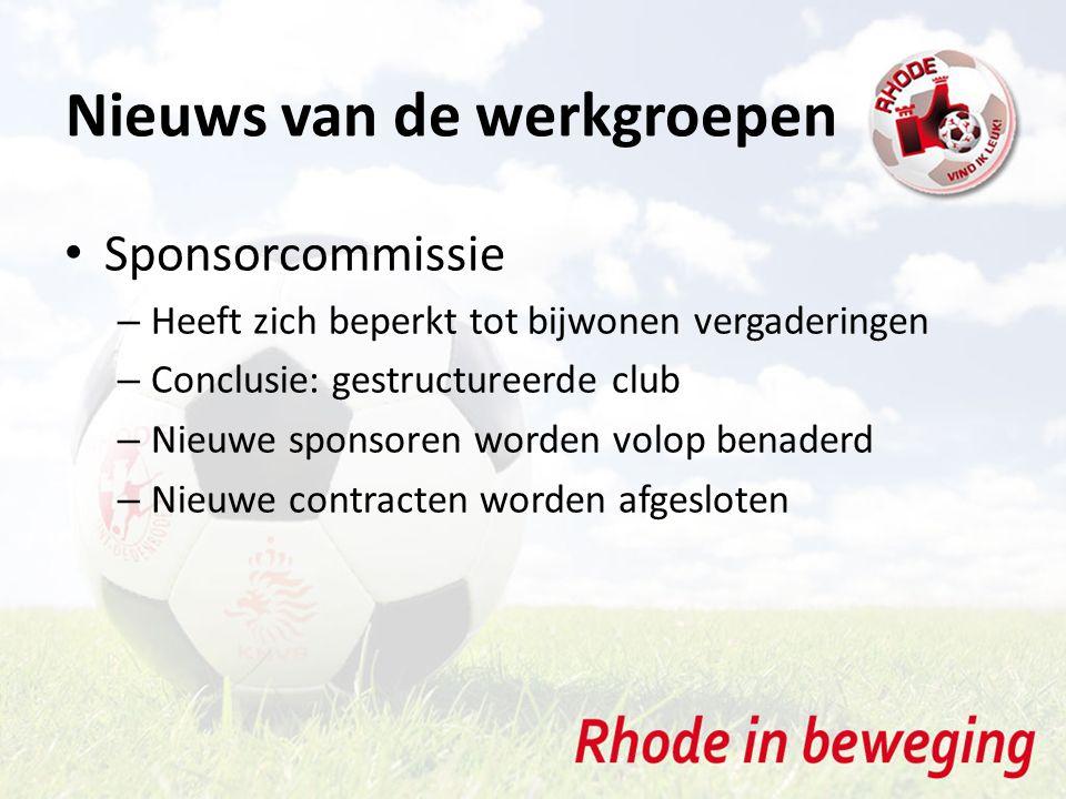 Sponsorcommissie – Heeft zich beperkt tot bijwonen vergaderingen – Conclusie: gestructureerde club – Nieuwe sponsoren worden volop benaderd – Nieuwe contracten worden afgesloten