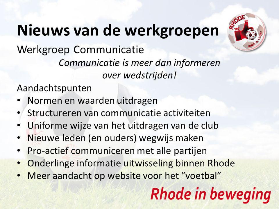 Nieuws van de werkgroepen Werkgroep Communicatie Communicatie is meer dan informeren over wedstrijden.