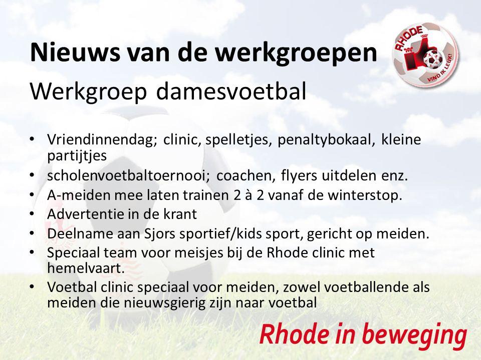 Nieuws van de werkgroepen Werkgroep damesvoetbal Vriendinnendag; clinic, spelletjes, penaltybokaal, kleine partijtjes scholenvoetbaltoernooi; coachen,