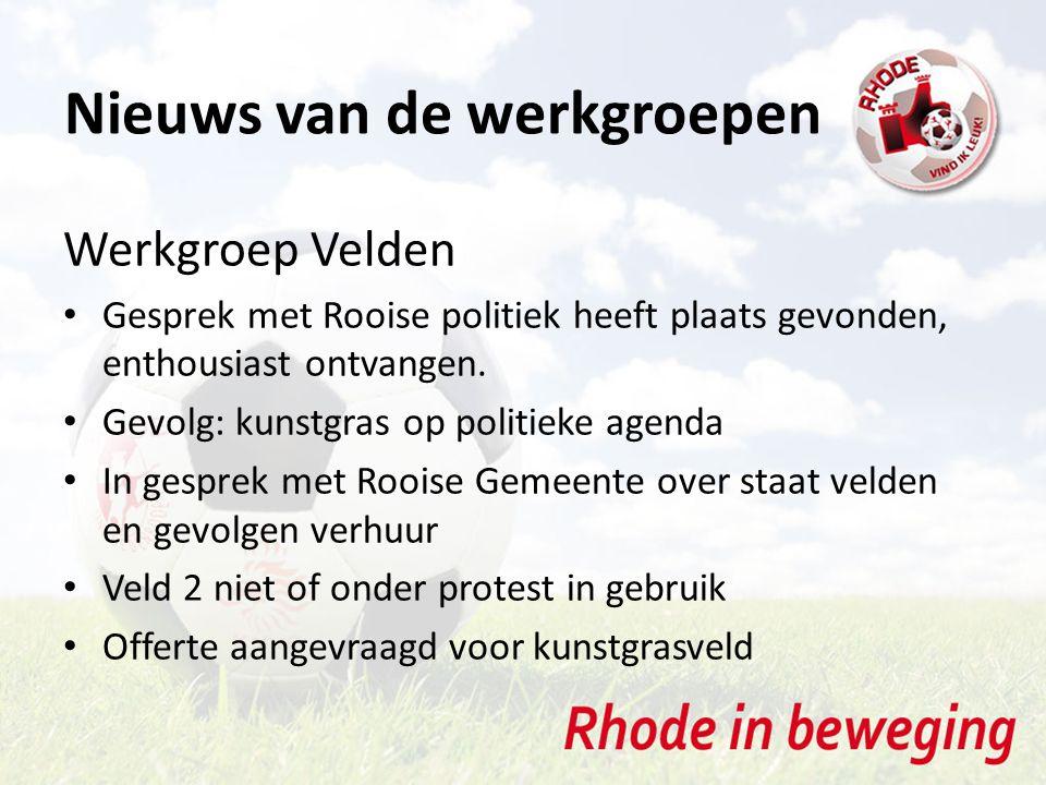 Nieuws van de werkgroepen Werkgroep Velden Gesprek met Rooise politiek heeft plaats gevonden, enthousiast ontvangen. Gevolg: kunstgras op politieke ag