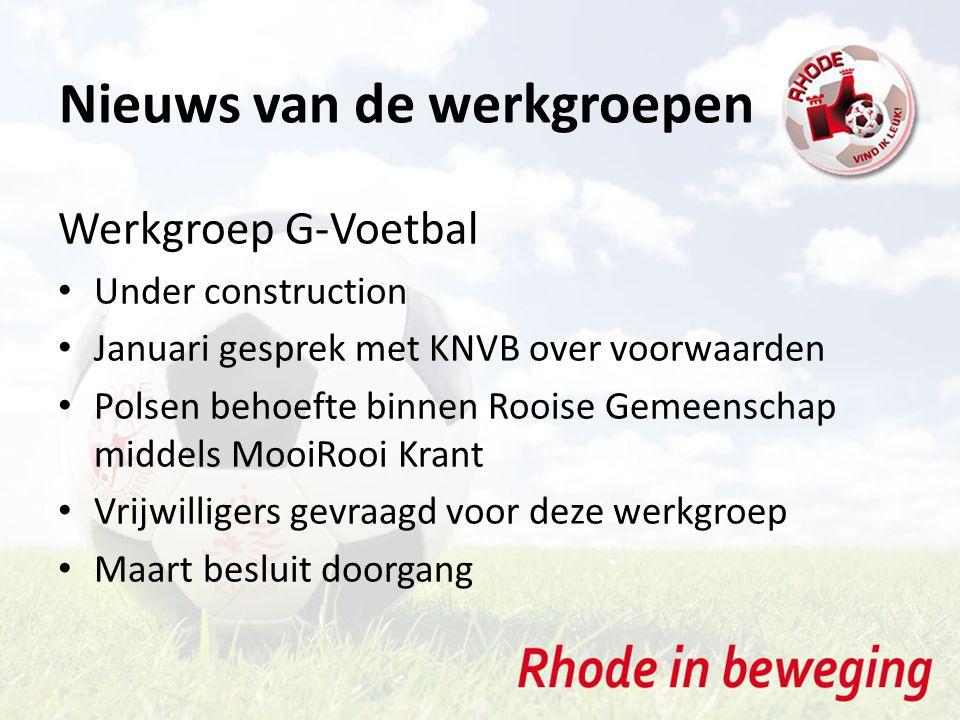 Nieuws van de werkgroepen Werkgroep G-Voetbal Under construction Januari gesprek met KNVB over voorwaarden Polsen behoefte binnen Rooise Gemeenschap m