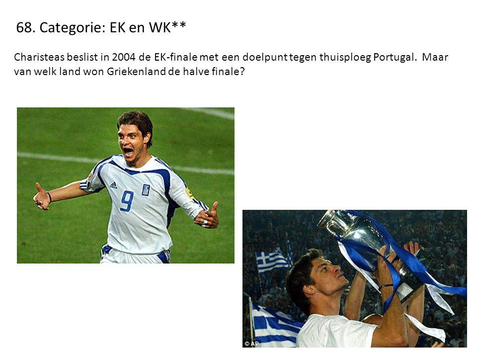 68. Categorie: EK en WK** Charisteas beslist in 2004 de EK-finale met een doelpunt tegen thuisploeg Portugal. Maar van welk land won Griekenland de ha