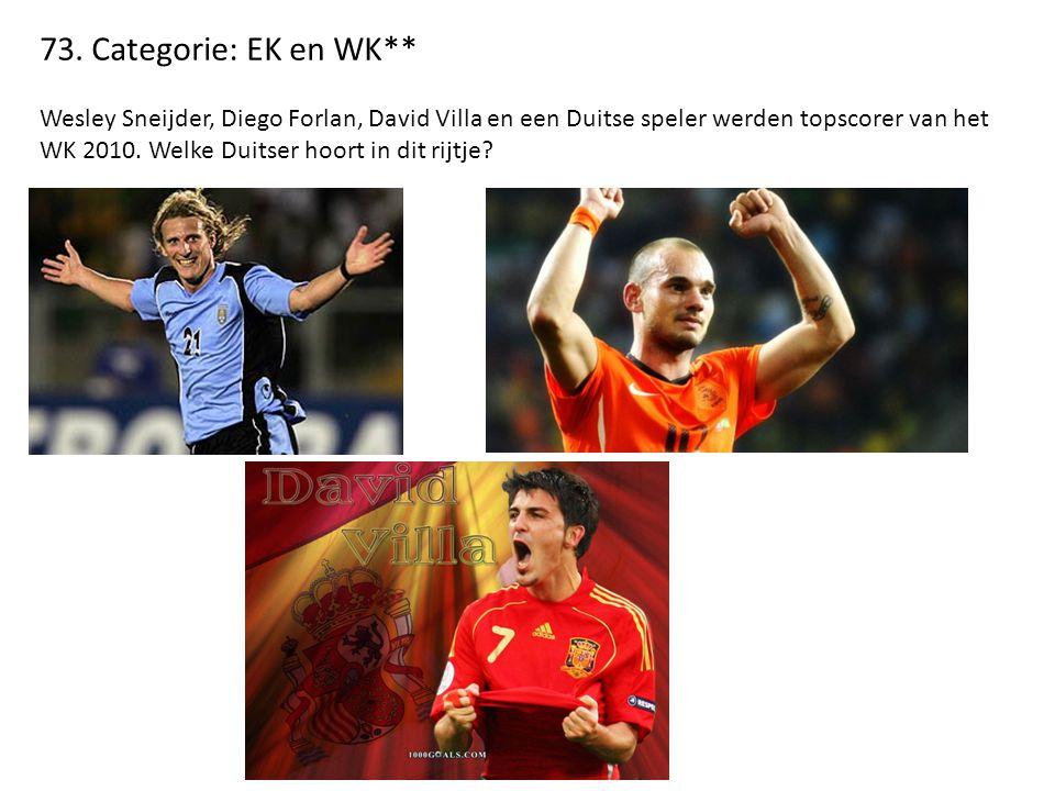 73. Categorie: EK en WK** Wesley Sneijder, Diego Forlan, David Villa en een Duitse speler werden topscorer van het WK 2010. Welke Duitser hoort in dit