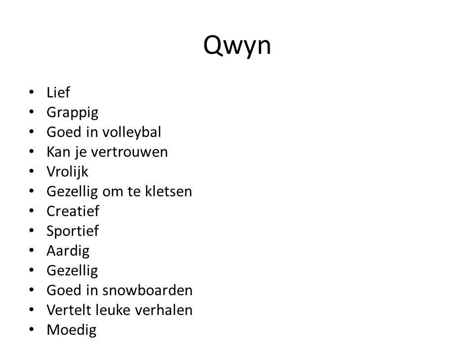 Qwyn Lief Grappig Goed in volleybal Kan je vertrouwen Vrolijk Gezellig om te kletsen Creatief Sportief Aardig Gezellig Goed in snowboarden Vertelt leu