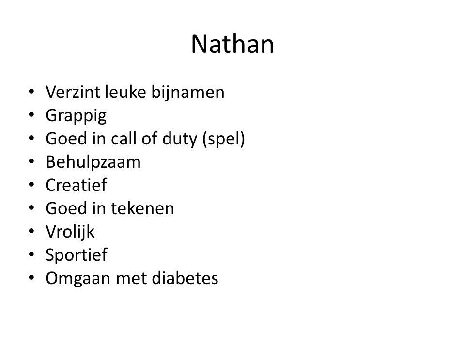 Nathan Verzint leuke bijnamen Grappig Goed in call of duty (spel) Behulpzaam Creatief Goed in tekenen Vrolijk Sportief Omgaan met diabetes