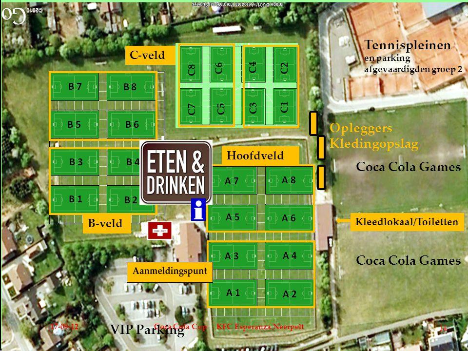 Coca Cola Games Coca Cola Games VIP Parking Tennispleinen en parking afgevaardigden groep 2 Kleedlokaal/Toiletten Opleggers Kledingopslag Hoofdveld C-