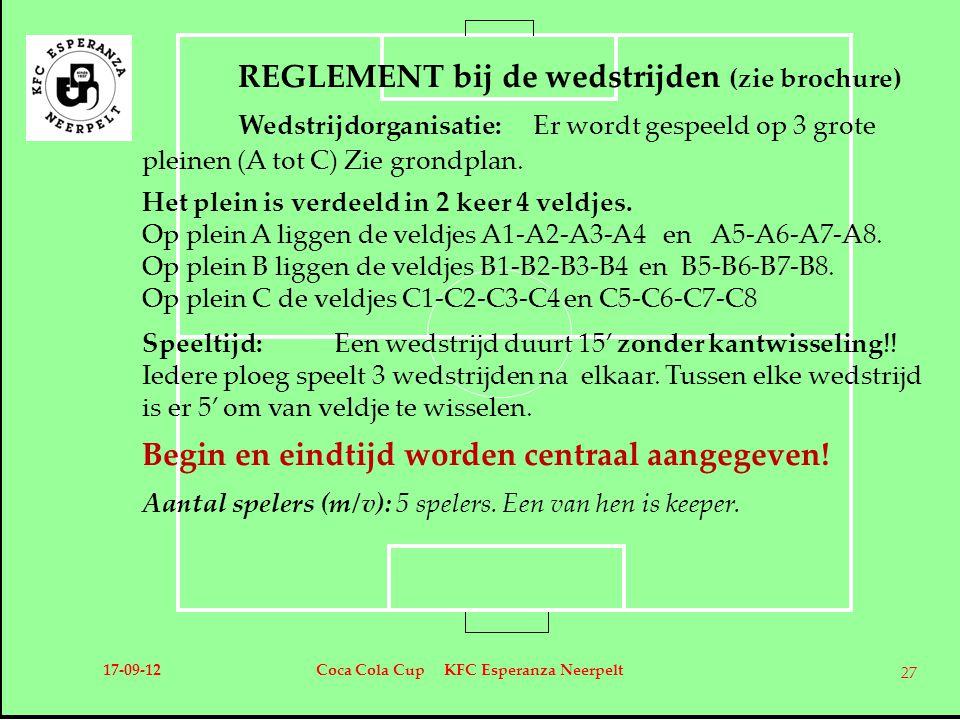 REGLEMENT bij de wedstrijden (zie brochure) Wedstrijdorganisatie: Er wordt gespeeld op 3 grote pleinen (A tot C) Zie grondplan. Het plein is verdeeld