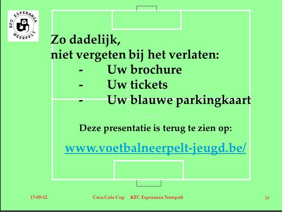 Zo dadelijk, niet vergeten bij het verlaten: -Uw brochure -Uw tickets -Uw blauwe parkingkaart Deze presentatie is terug te zien op: www.voetbalneerpel