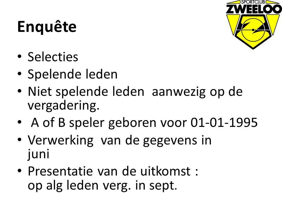Enquête Selecties Spelende leden Niet spelende leden aanwezig op de vergadering. A of B speler geboren voor 01-01-1995 Verwerking van de gegevens in j