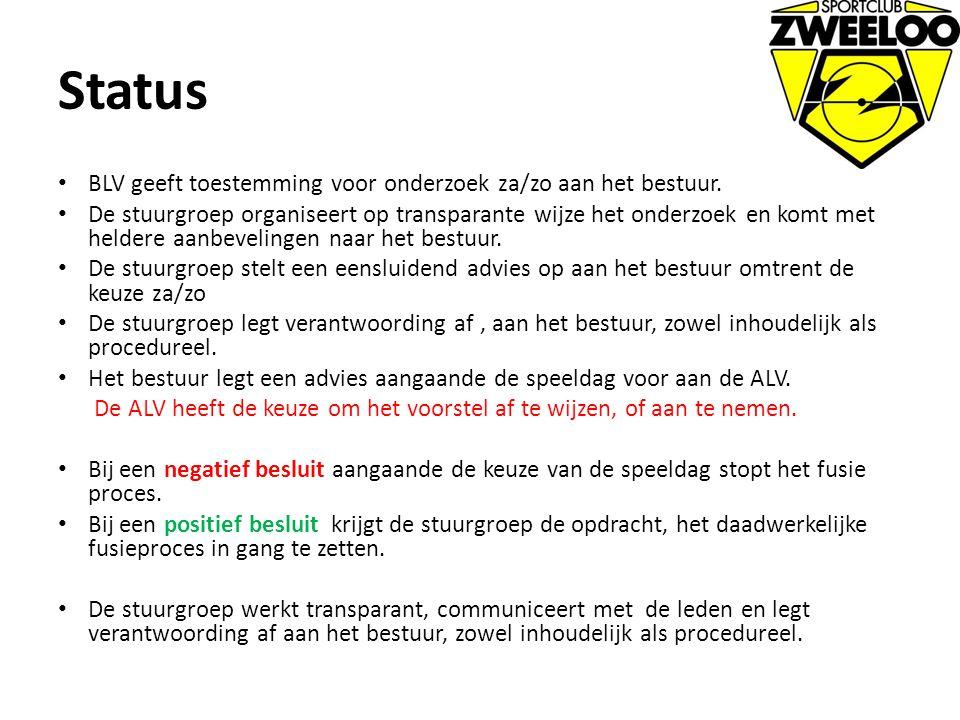 Status BLV geeft toestemming voor onderzoek za/zo aan het bestuur. De stuurgroep organiseert op transparante wijze het onderzoek en komt met heldere a