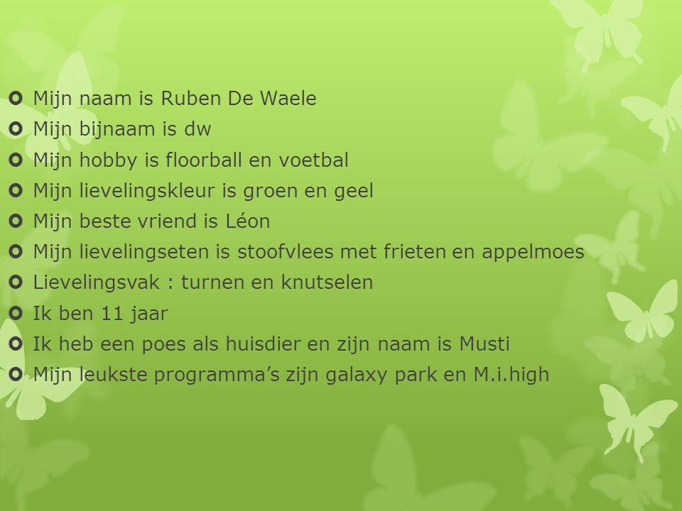  Mijn naam is Ruben De Waele  Mijn bijnaam is dw  Mijn hobby is floorball en voetbal  Mijn lievelingskleur is groen en geel  Mijn beste vriend is